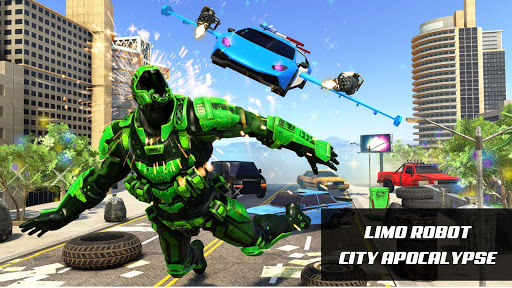 Flying Police Limo Car Robot: flying car games screenshot 9