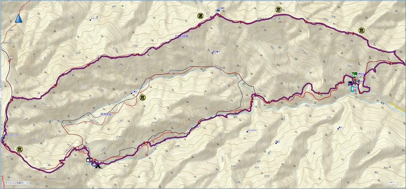 両神山 登山コース地図