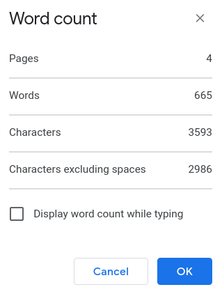 Count words in Google Docs and PDF