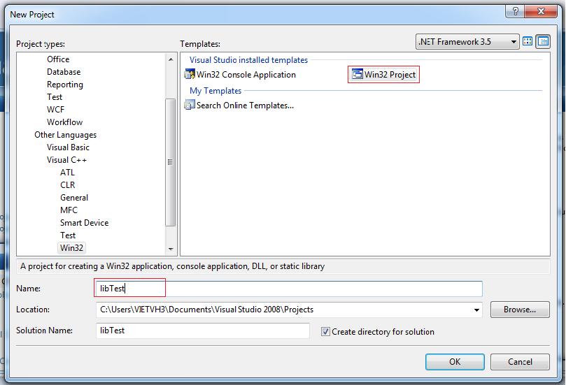 Tạo Static lib trên Visual C++