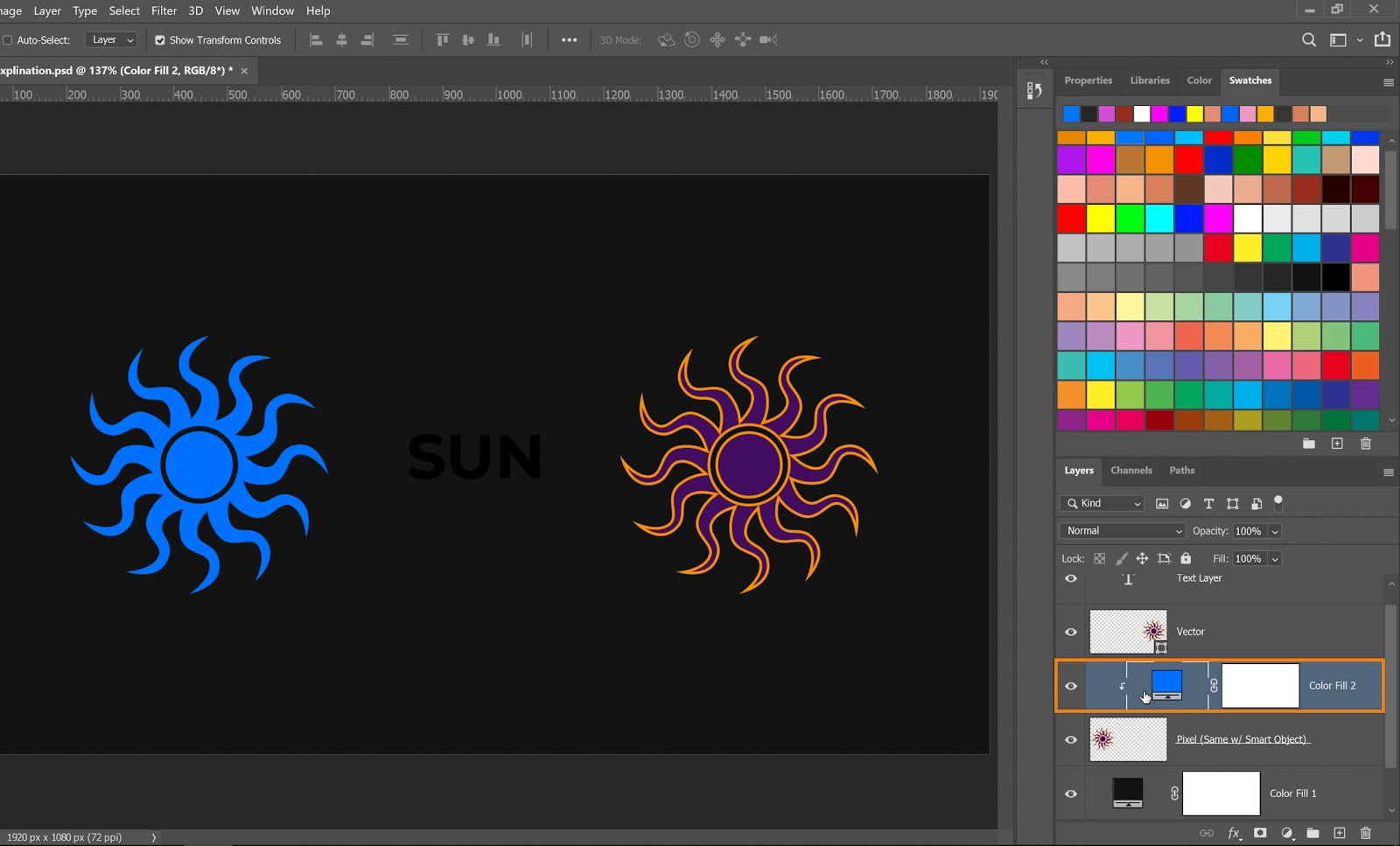 Select teh Color Fill layer