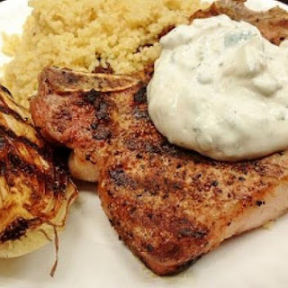 Garam Masala Pork Chops with Mint Yogurt and Spiced Couscous