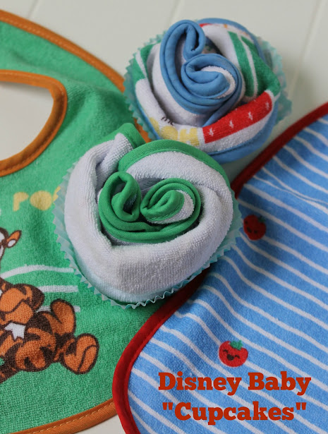 "Disney Baby ""Cupcakes"" made from Winnie the Pooh bibs are an easy DIY baby shower gift you can quickly make"