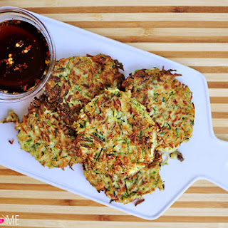 Zucchini Fritters with Asian Dipping Sauce.