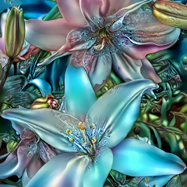 Lilies by Cassy 67 - Digital Art Things ( digital, love, harmony, surreal, flowers, pink, abstract art, abstract, lilies, creative, digital art, flower, psychedelic, modern, blue, light, lilium, lily, style, energy, fashion )