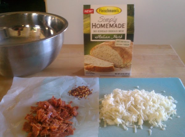 Fleischmann's New Simply Homemade Italian Herb bread mix made this Pizza bread a SNAP!!!