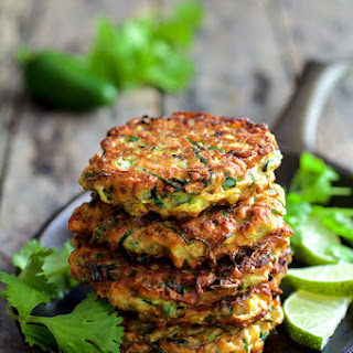 Whole Grain Zucchini Jalapeno Fritters with Cilantro Lime Sour Cream.