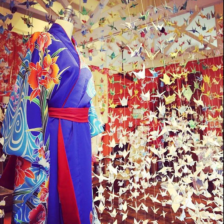 Silk kimono and origami swans. Photo: Kong Lung Trading.