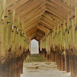 Cathedral pf the sea. by Hal Gonzales - Buildings & Architecture Bridges & Suspended Structures ( waves, pier, ocean, ocean view, cathedral,  )