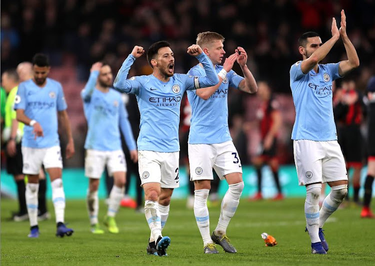 Manchester City celebrated a victory over AFC Bournemouth that took them to them top of the Premier League on Saturday.