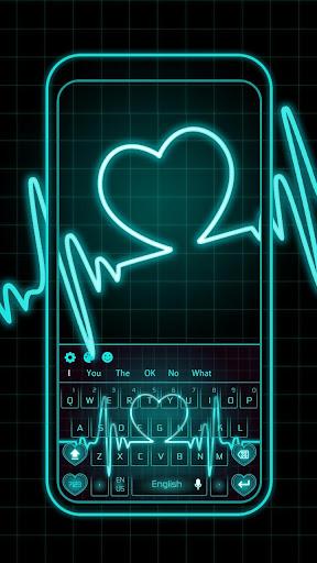 Neon Blue Love Heart Keyboard screenshots 1