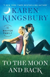 Release Date 5/29  From #1 New York Times bestselling author Karen Kingsbury comes a brand-new love story in the Baxter Family collection about two people who long ago shared a childhood tragedy—two people desperate to find each other and the connection they once shared…and just maybe a chance at love.  Brady Bradshaw was a child when the Oklahoma City bombing took his mother from him. Every year, Brady visits the site on the anniversary to remember her. A decade ago on that day, he met Jenna Phillips, who was also a child when her parents were killed in the attack. Brady and Jenna shared a deep heart connection and a single beautiful day together at the memorial. But after that, Brady never saw Jenna again. Every year when he returns, he leaves a note for her in hopes that he might find her again.  This year, Ashley Baxter Blake and her sister Kari Ryan take a spring break trip with their families that includes a visit to the site to see the memorial's famous Survivor Tree. While there, Ashley spots a young man, alone and troubled. A chance moment leads Ashley to help the young man find the girl he can't forget—Jenna Phillips.  Ashley's family is skeptical, but in the end everyone comes together to support Ashley's efforts to find the girl and bring them together. But will it work? And is a shared heartache enough reason to fall in love?  Deeply emotional and beautifully romantic, To the Moon and Back is an unlikely love story about healing, redemption, and hope that springs from the ashes of a tragedy