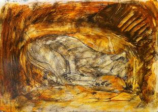 "Photo: Painting of a Sleeping Saluki, 2012, 21cm x 29cm, 8"" x 11.5"", 2012, graphite, acrylic, India and acrylic inks, Moleskine folio Sketchbook A4."