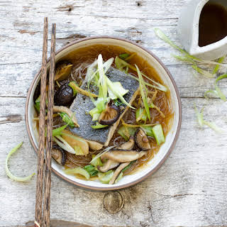 Braised Fish with Bok Choy in Shiitake Broth.