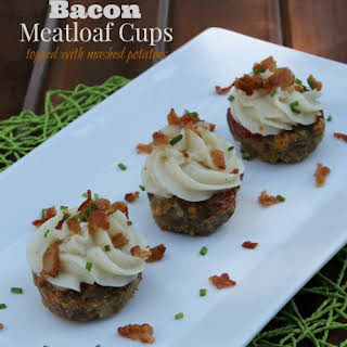 Bacon Meatloaf Cups Topped with Mashed Potatoes.
