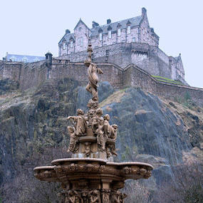 Edinburgh Castle by Mark Denham - Landscapes Travel ( scotland, edinburgh, fountain, castle, edinburgh castle )