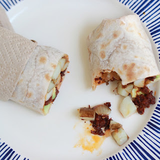 Paleo Breakfast Burrito with Potato and Chorizo.