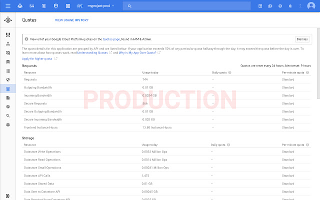 Google Cloud Console Production Warning