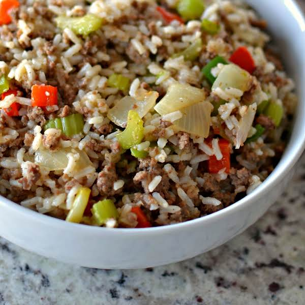 Dirty Rice Is A Delectable Combination Of Ground Pork, Ground Beef, Finely Minced Chicken Livers, Rice, Onions, Celery, Green Pepper, Garlic And Cajun Seasoning. It Is A Complete Meal That Can Be Cooked Up In About Twenty Five Minutes.  It Is So Full Of F