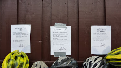 Photo: Bicycle for hire -- in English, Norwegian and Slovak? Why Slovak? We haven't met any Slovaks.
