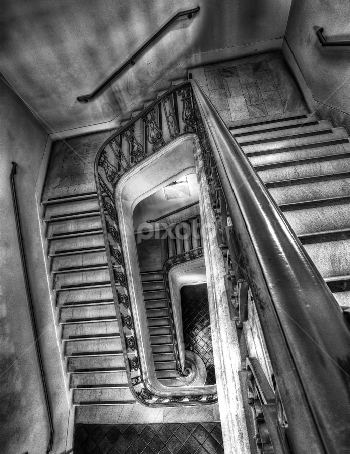 Stairway by Jerome Obille - Buildings & Architecture Architectural Detail ( blackandwhite, detail, stairs, stairway, white, architecture, monotone )