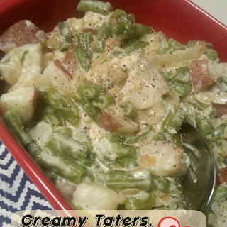 Creamy Taters, Green Beans & Caramelized Onions