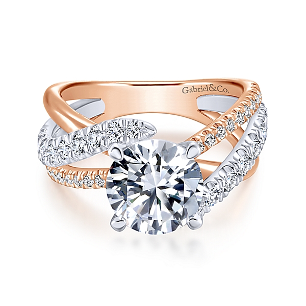 Zaira 14k White/Rose Gold Round Free Form Engagement Ring