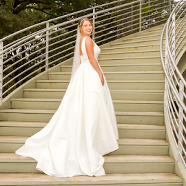 Rabb House Bride by Matthew Chambers - Wedding Bride ( bride, dress, lovely, white, sexy, stairs, curvy, blonde, stairwell, matthew chambers photography, cute, busty )