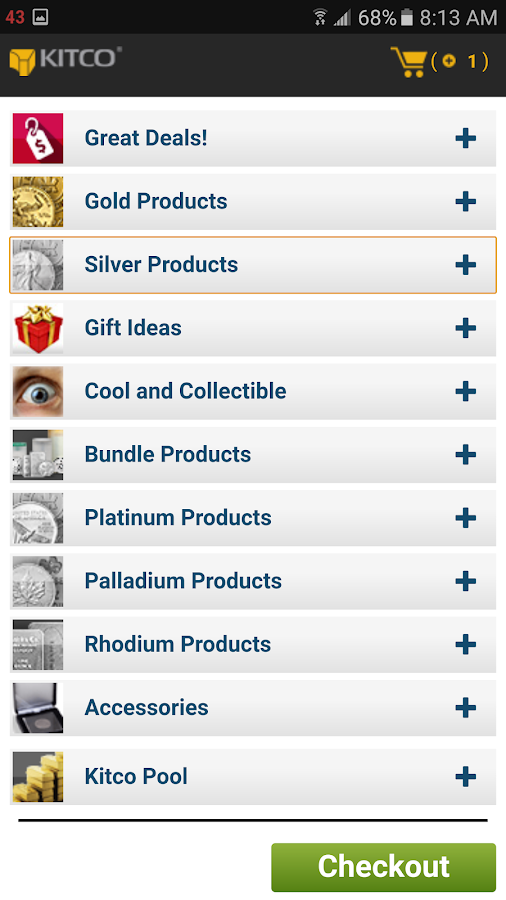 Buy Gold and Silver from Kitco- screenshot