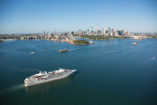 Ponant-Sydney.jpg - A Ponant ship approaches Sydney Harbor, one of many ports of call in Australia.