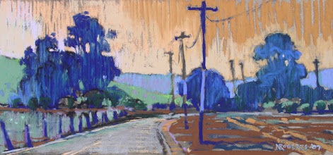 Photo: Quiet Backroad, pastel by Nancy Roberts, copyright 2014. Private collection.