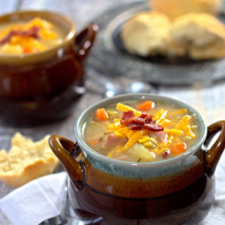 Cauliflower Soup with Chunky Potatoes and Ham