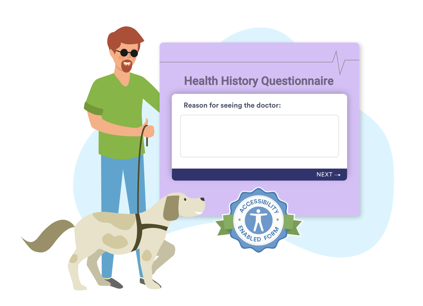 An illustration of a blind man holding his guide dog's leash next to a JotForm's card form layout screenshot.