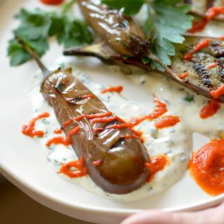 Fairytale Eggplant with Red Pepper and Garlic Sauces.