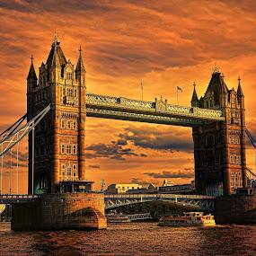 Tower Bridge by Angel Weller - Buildings & Architecture Bridges & Suspended Structures ( water, sunset, boats, buildings, bridge )