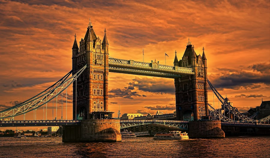Tower Bridge by Angel Weller - Buildings & Architecture Bridges & Suspended Structures ( water, sunset, boats, buildings, bridge )