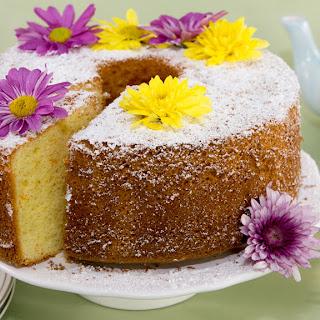Orange Chiffon Cake with Edible Flowers.