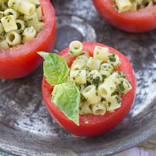 Pesto Pasta Stuffed Tomatoes.