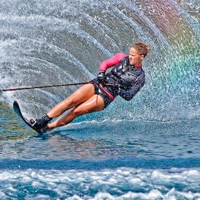 Lucy makes a rainbow in the water  by Tony Munro - Sports & Fitness Watersports ( #lifeonthewater, #outdoorpursuits, #rainbow, #watersports, #britishskichampion, #sportswomen, #wakeboard, #gbwaterskiteam, #whitworthwaterskiacademycic )