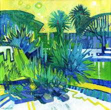 "Photo: ""Summer Garden"", Acrylic on Canvas 12"" x 12"", © Nancy Roberts"