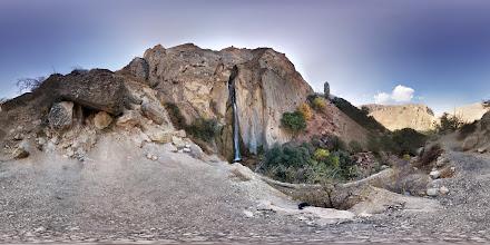 Photo: Shahandasht Fall & Malek Bahman Castle آبشار شاهاندشت و قلعه ملک بهمن
