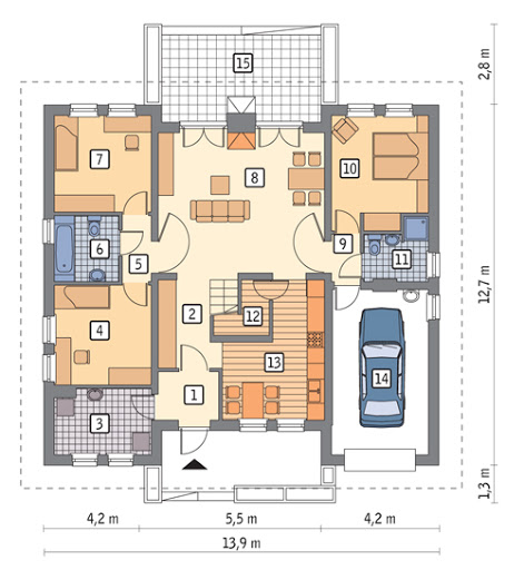Dom dla Ciebie - wariant I - M14a - Rzut parteru