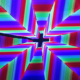 by Jim Barton - Abstract Patterns ( 3d, jesus, laser, colorfull, cross, laser light, abstract, laser design, 3d light )