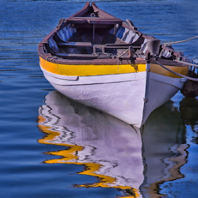 Boat reflection by Gwen Paton - Transportation Boats ( water, reflection, connecticut, blue, yellow, boat, mystic ct,  )