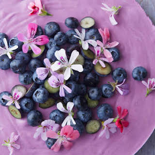 Blueberry Lemon Mousse Cake With Scented Geranium Flowers.