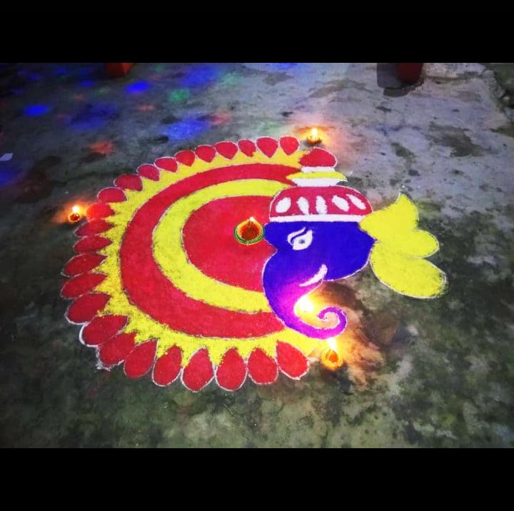 Nice Rangoli Design For Ganesh Chaturthi