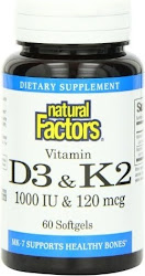 Natural Factors Vitamin K & D - 60 Softgels