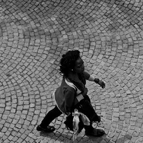 tourist by Renato Dibelčar - People Street & Candids ( tourist, monochrome, woman, outdoor, slovenia, frau, ljubljana, castle, tourism, women, people )