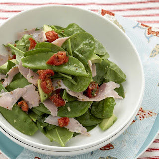 Ham and Avocado Spinach Salad with Mustard Vinaigrette