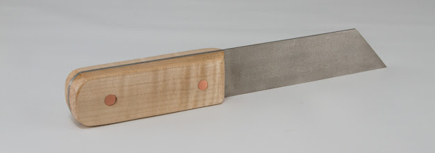 "Photo: Tom Coker 1 1/2"" x 9 1/2"" thin parting tool [steel, maple, copper]"